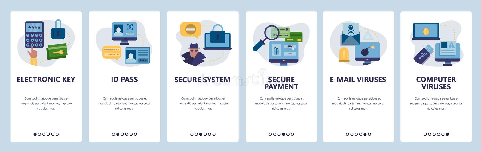 Web site onboarding screens. Cyber security, secure access, ID pass and online payment. Menu vector banner template for vector illustration