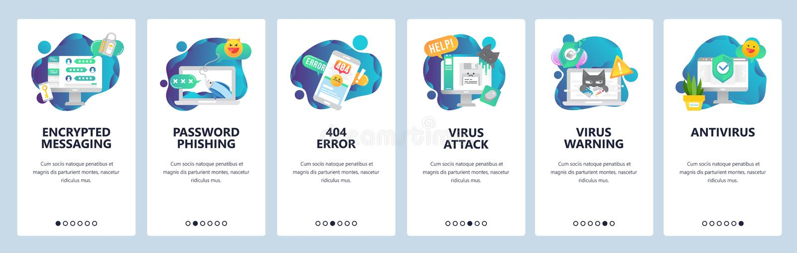 Web site onboarding screens. Cyber security, virus attack and phishing. Antivirus and encrypted messaging. Menu vector. Banner template for website and mobile stock illustration