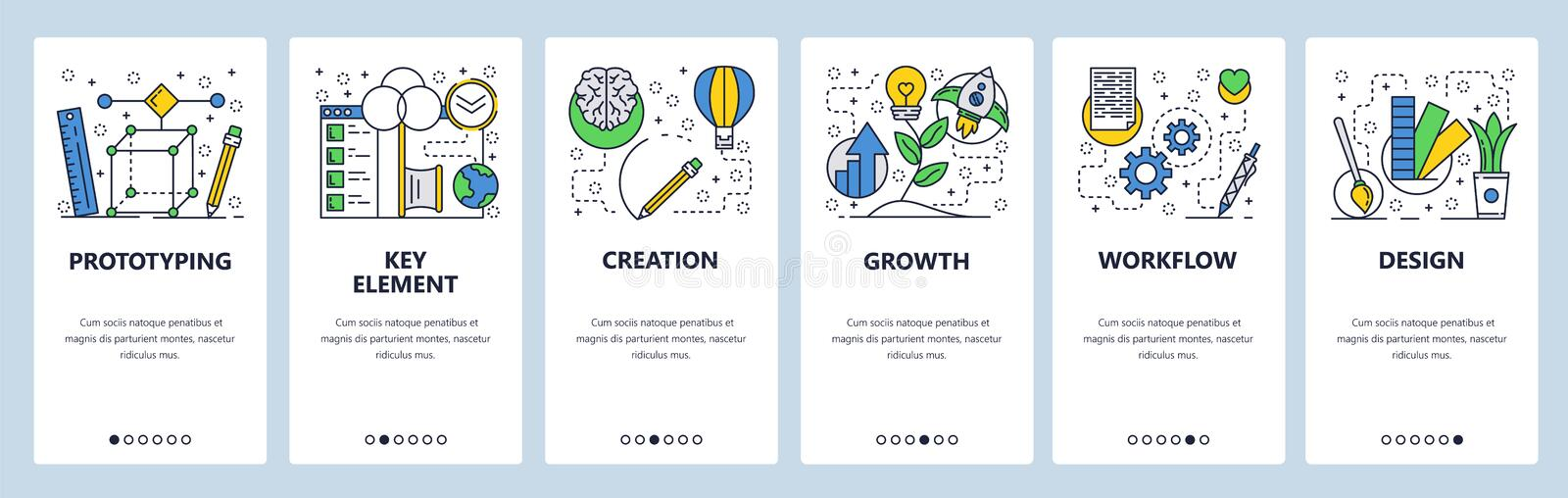 Web site onboarding screens. 3d modeling, prototyping, growth and design workflow. Menu vector banner template for. Website and mobile app development. Modern vector illustration