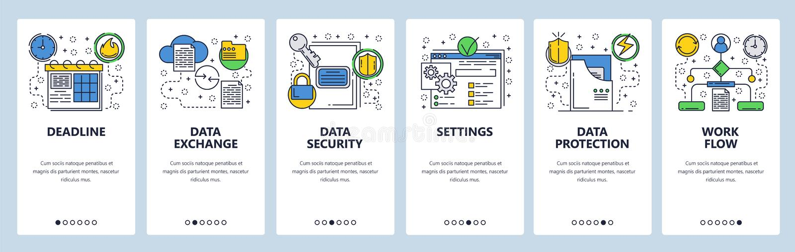 Web site onboarding screens. Data exchange, sync and protection. Menu vector banner template for website and mobile app royalty free illustration