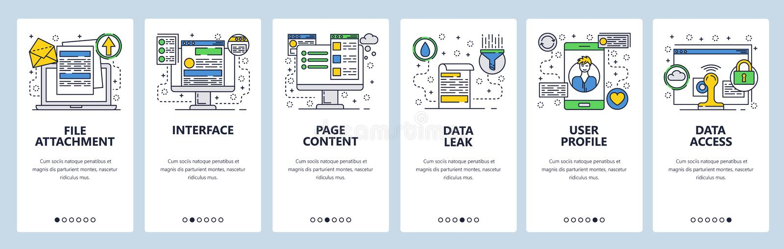 Web site onboarding screens. Data management, interface and user profile. Website woreframe and content. Menu vector. Banner template for website and mobile app stock illustration