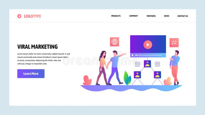 Web site onboarding screens. Digital advertising and online viral marketing. Menu vector banner template for website and stock illustration