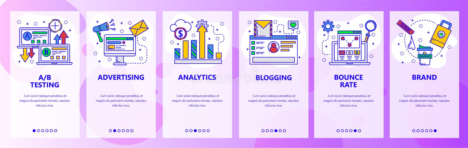 Web site onboarding screens. Digital marketing, analytics and online advertisement. Menu vector banner template for. Website and mobile app development. Modern royalty free illustration