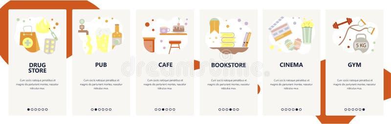Web site onboarding screens. Drug store, pub, bar, cafe, cinema, gym. Menu vector banner template for website and mobile. App development. Modern design flat stock illustration