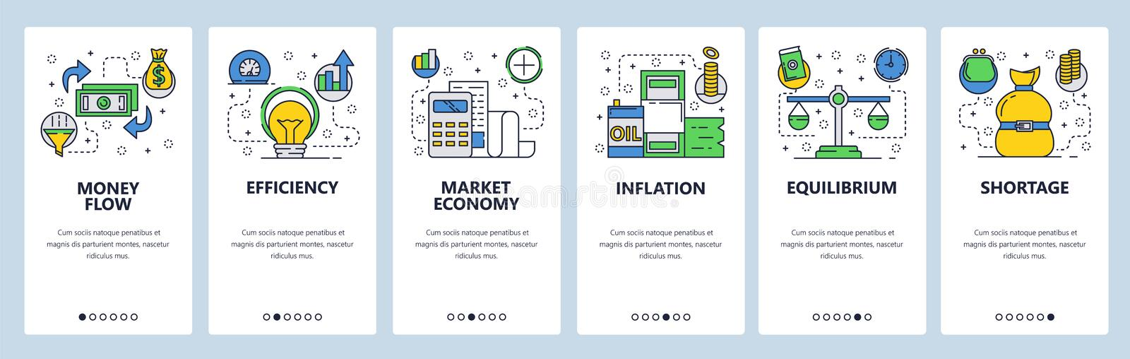 Web site onboarding screens. Economy and global finance markets system. Money flow, inflation, oil price. Menu vector. Banner template for website and mobile royalty free illustration