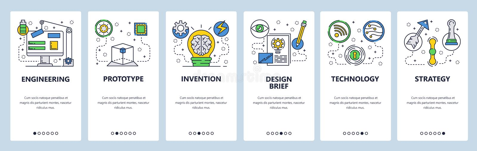 Web site onboarding screens. Engineering, construction and innovation technology. Menu vector banner template for royalty free illustration