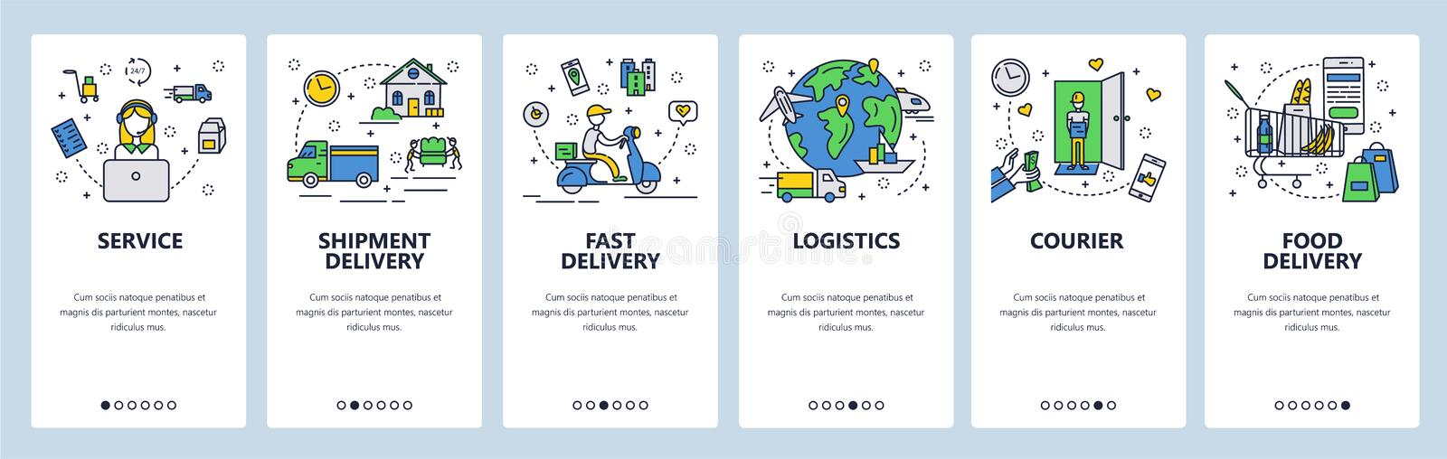 Web site onboarding screens. Fast shipping and food delivery. Menu vector banner template for website and mobile app. Development. Modern design flat stock illustration
