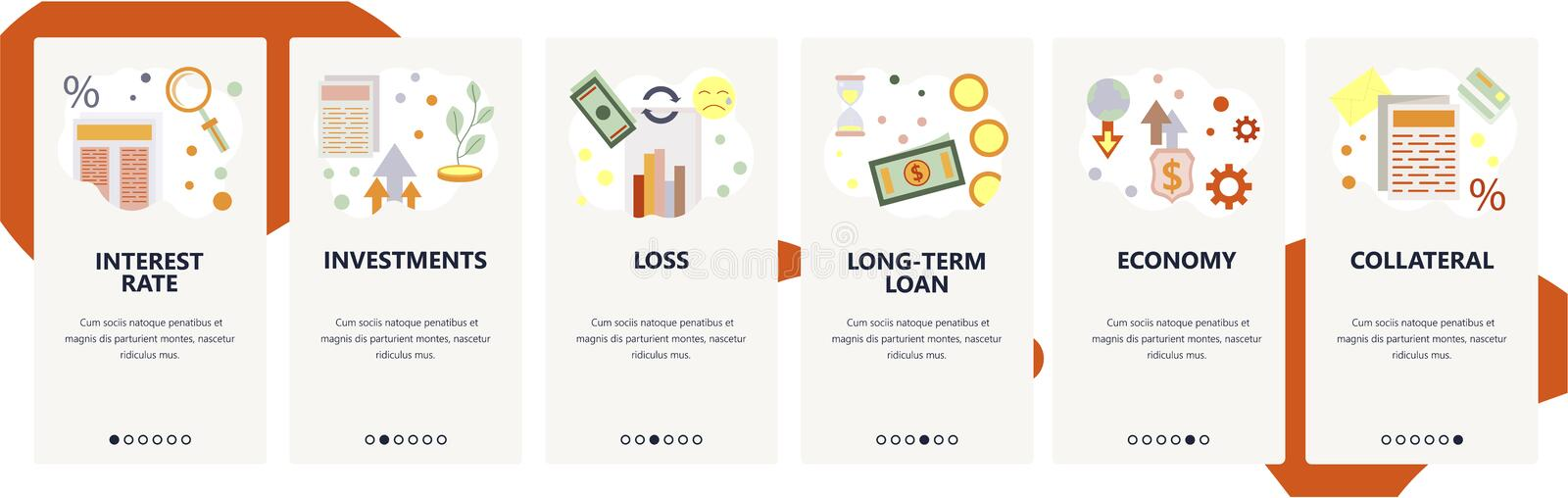 Web site onboarding screens. Finance and banking system icons, bank loan, investments. Menu vector banner template for. Website and mobile app development stock illustration