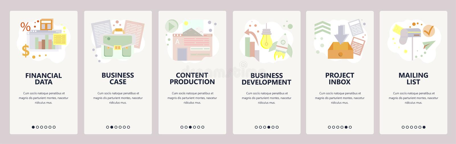 Web site onboarding screens. Financial data, business development, content production. Menu vector banner template for. Website and mobile app development royalty free illustration