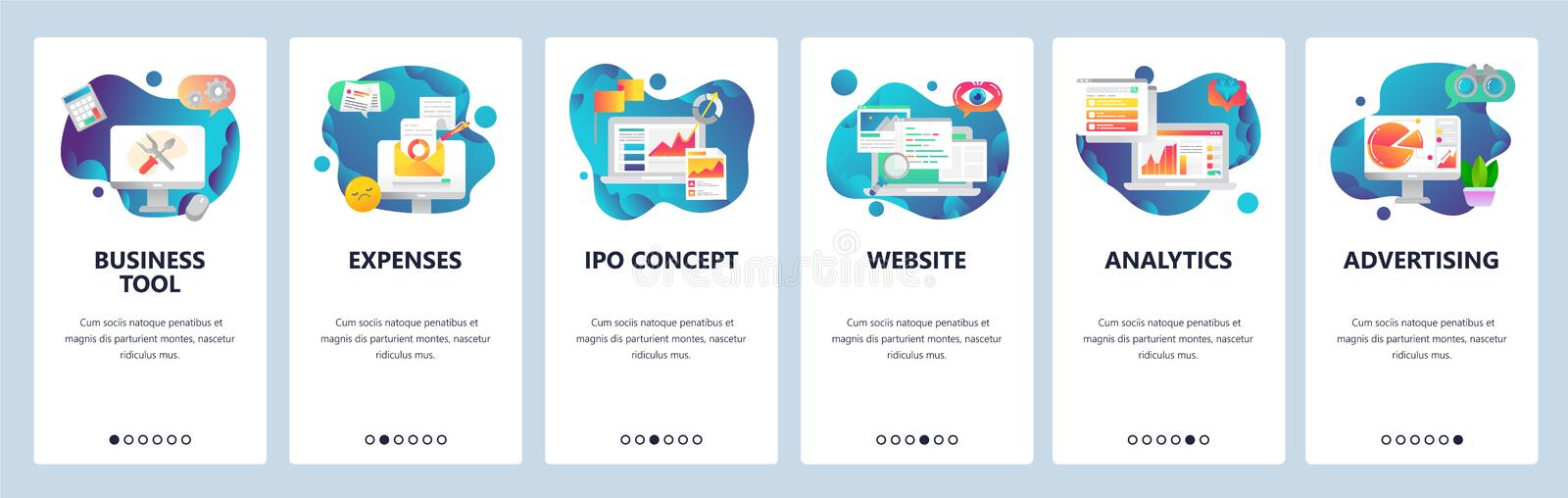 Web site onboarding screens. Financial report, business tools, analytics. Menu vector banner template for website and. Mobile app development. Modern design stock illustration