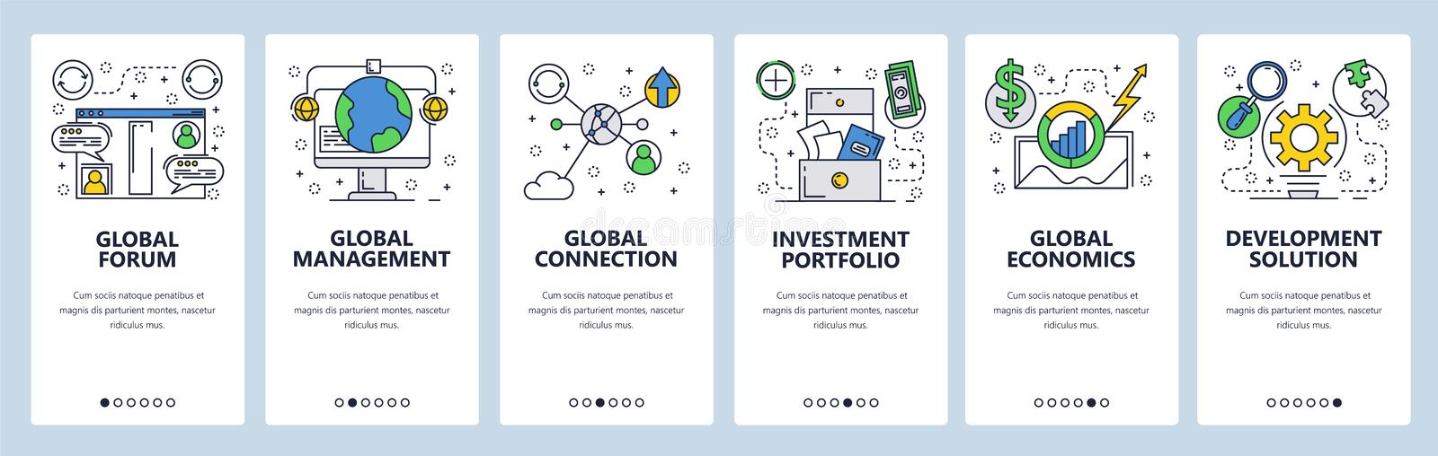 Web site onboarding screens. Global connection, investment and economy. Menu vector banner template for website and. Mobile app development. Modern design flat stock illustration