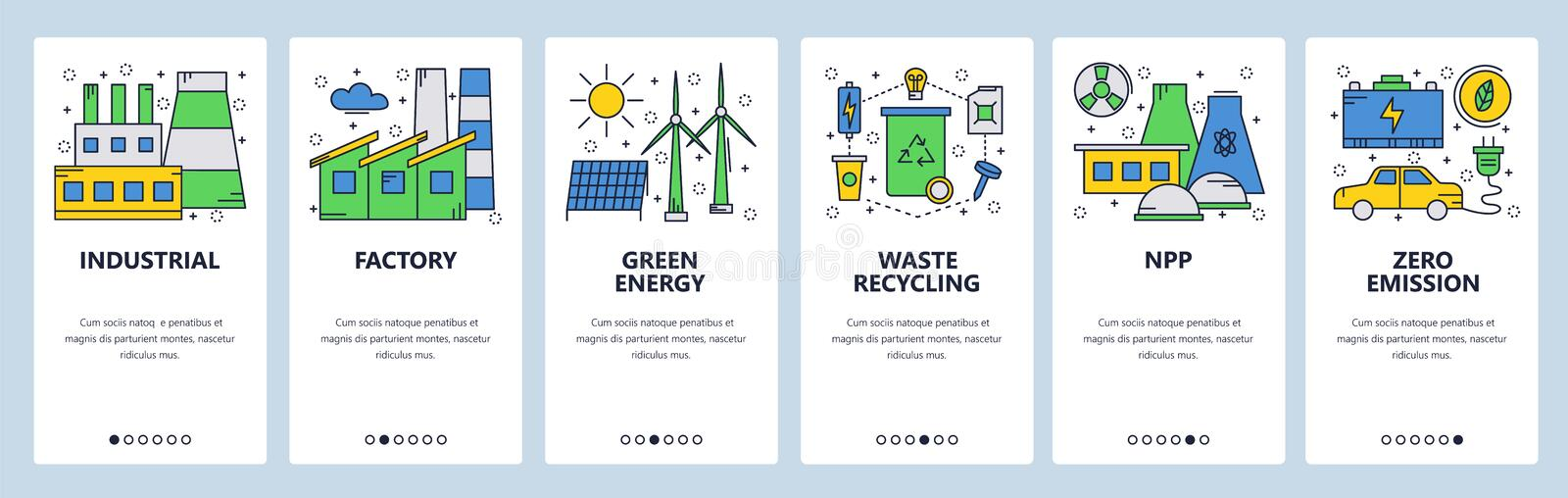 Web site onboarding screens. Green and renewable energy. Power station and zero emission. Menu vector banner template royalty free illustration