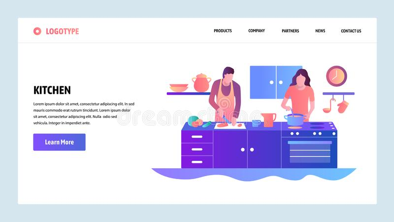 Web site onboarding screens. Happy couple cooking together at kitchen. Menu vector banner template for website and. Mobile app development. Modern design linear royalty free illustration