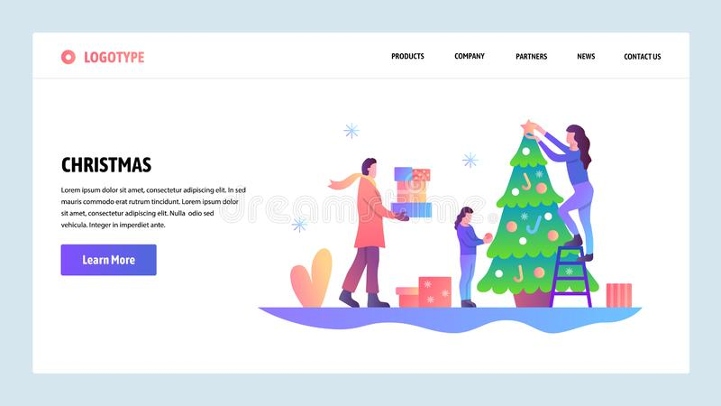 Web site onboarding screens. Happy family decorate christmas tree. Merry christmas and happy new year. Menu vector stock illustration