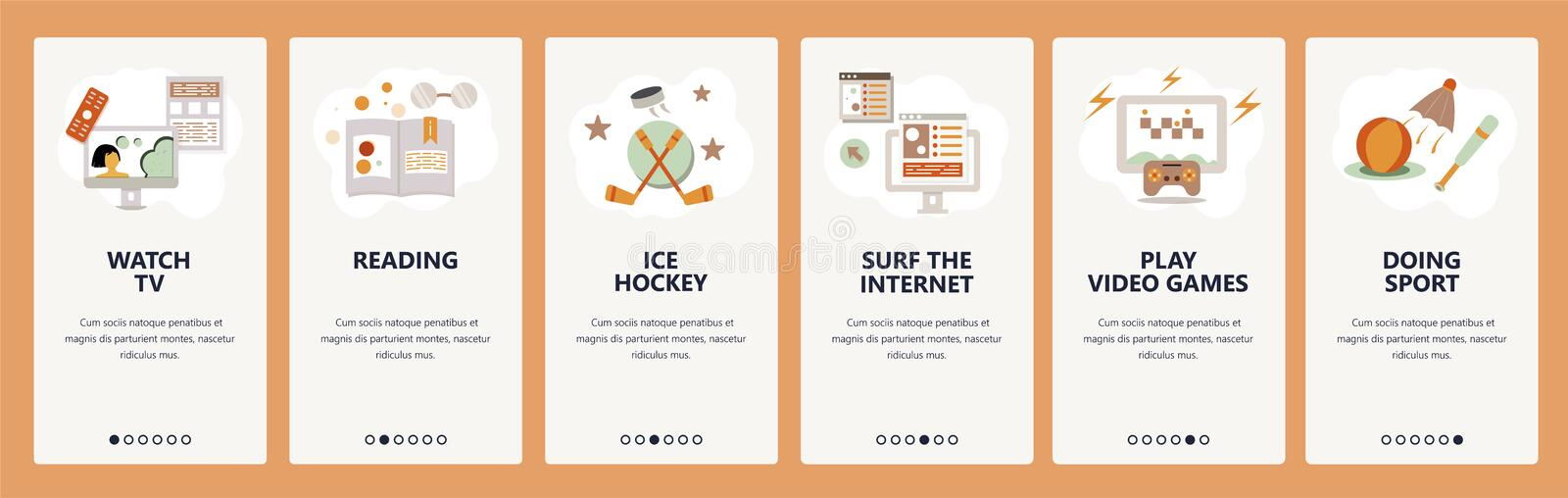 Web site onboarding screens. Hobby and leisure activity. Reading. playing games and watching TV. Menu vector banner. Template for website and mobile app stock illustration