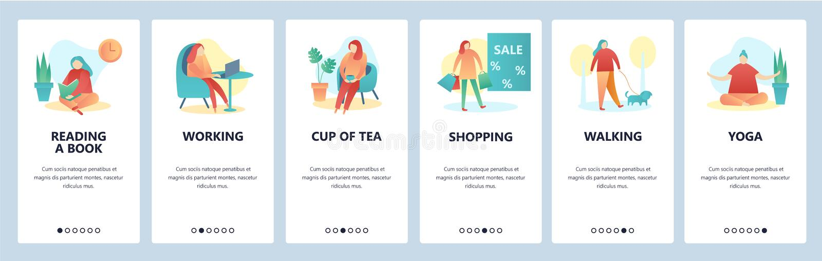 Web site onboarding screens. Hobby and leisure activity. Reading, walking, yoga, shopping. Menu vector banner template. For website and mobile app development royalty free illustration