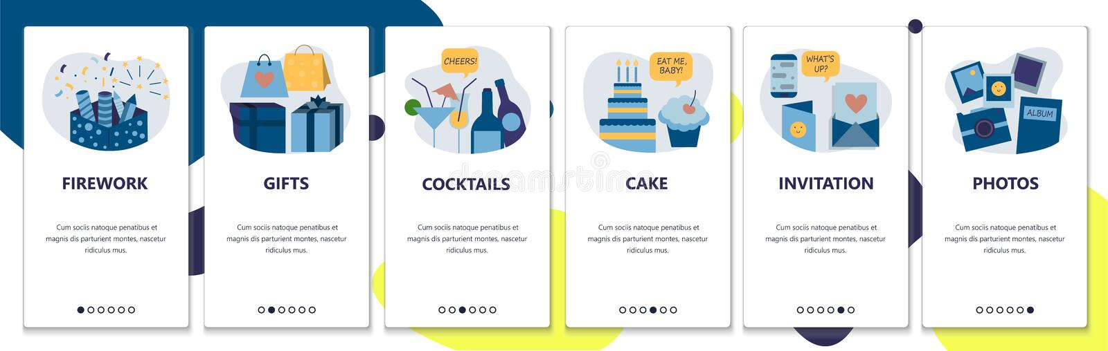 Web site onboarding screens. Holiday celebration and birthday party. Fireworks, cake, gifts and drinks. Menu vector. Banner template for website and mobile app stock illustration