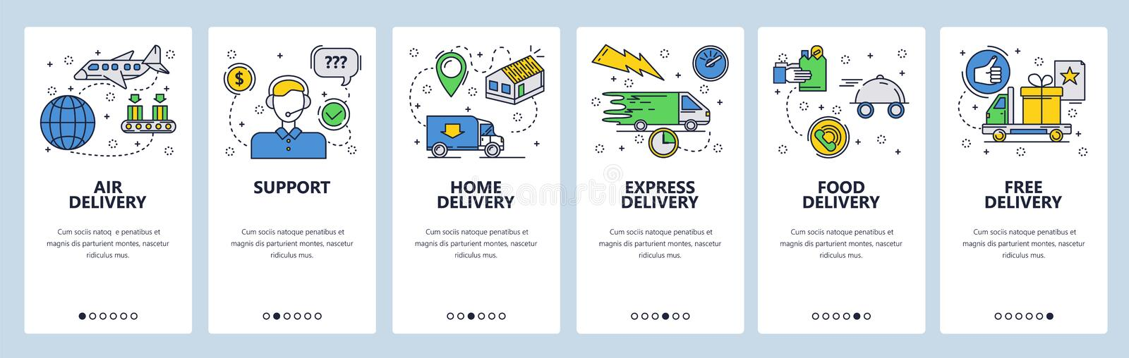 Web site onboarding screens. Home express and air delivery. Menu vector banner template for website and mobile app royalty free illustration