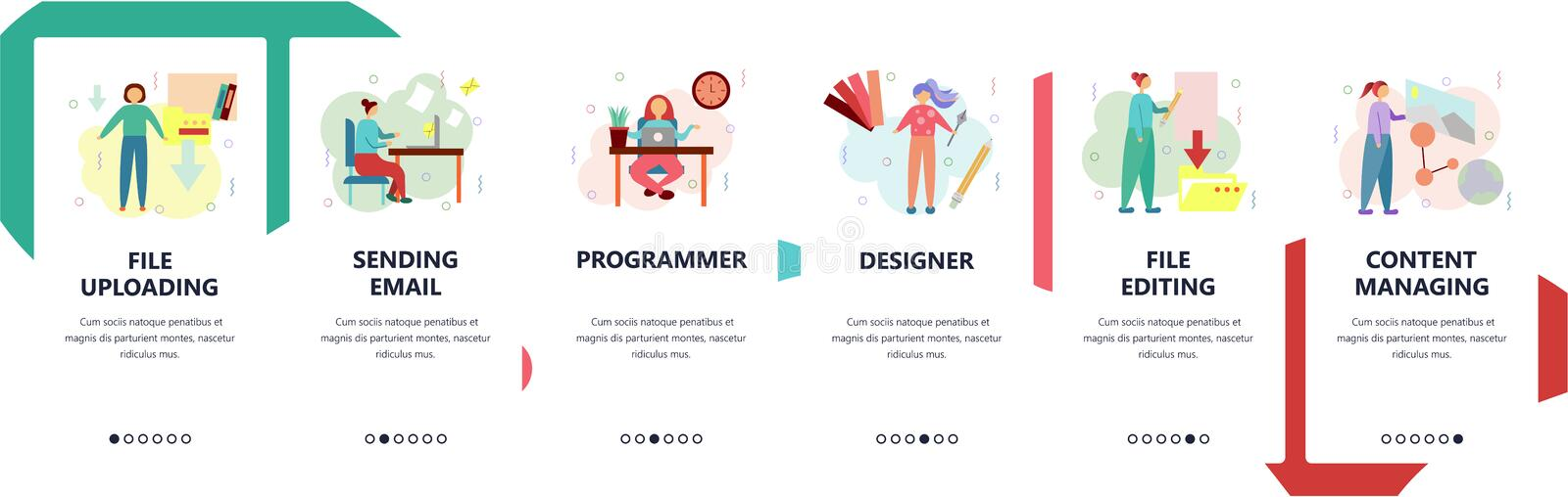 Web site onboarding screens. Home office, files downloading and editing, programming. Menu vector banner template for. Website and mobile app development royalty free illustration