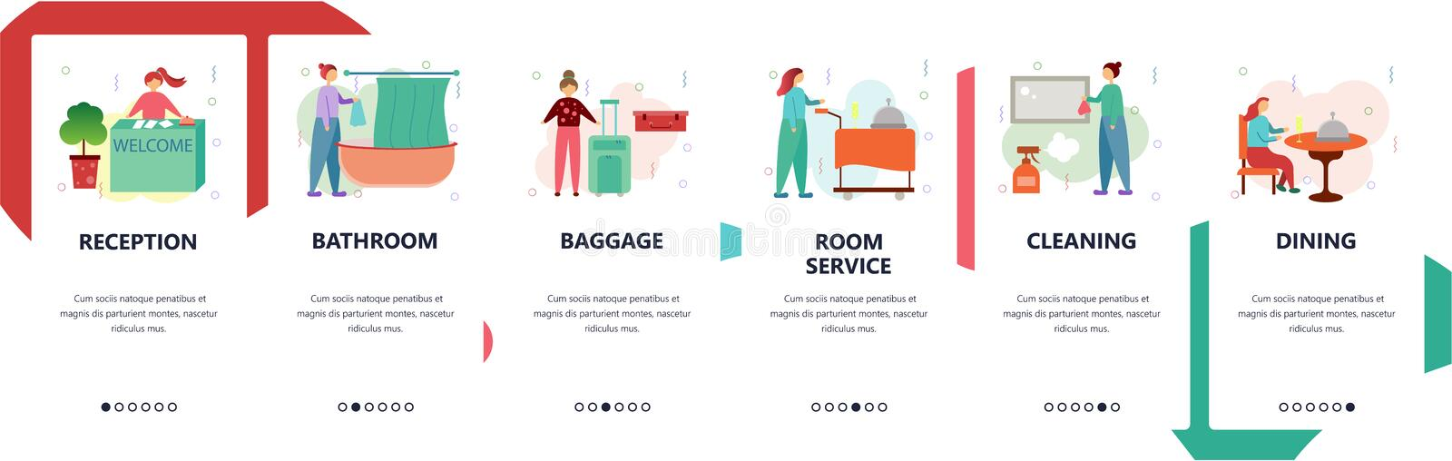 Web site onboarding screens. Hotel business, reception, room service. Menu vector banner template for website and mobile stock illustration