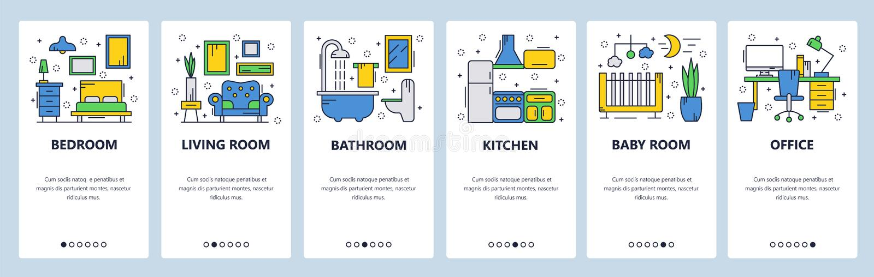 Web site onboarding screens. House interior, bedroom, living room, bathroom. Menu vector banner template for website and. Mobile app development. Modern design royalty free illustration