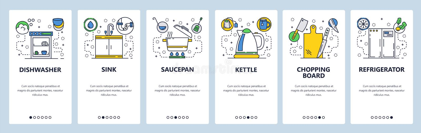 Web site onboarding screens. House kitchen appliances and accessories. Menu vector banner template for website and. Mobile app development. Modern design linear stock illustration