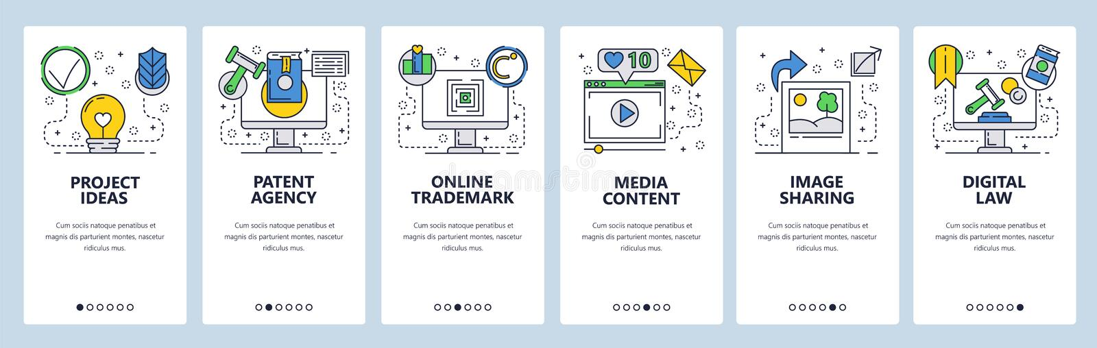 Web site onboarding screens. Internet services, copyright, media content and photo sharing. Menu vector banner template. For website and mobile app development royalty free illustration