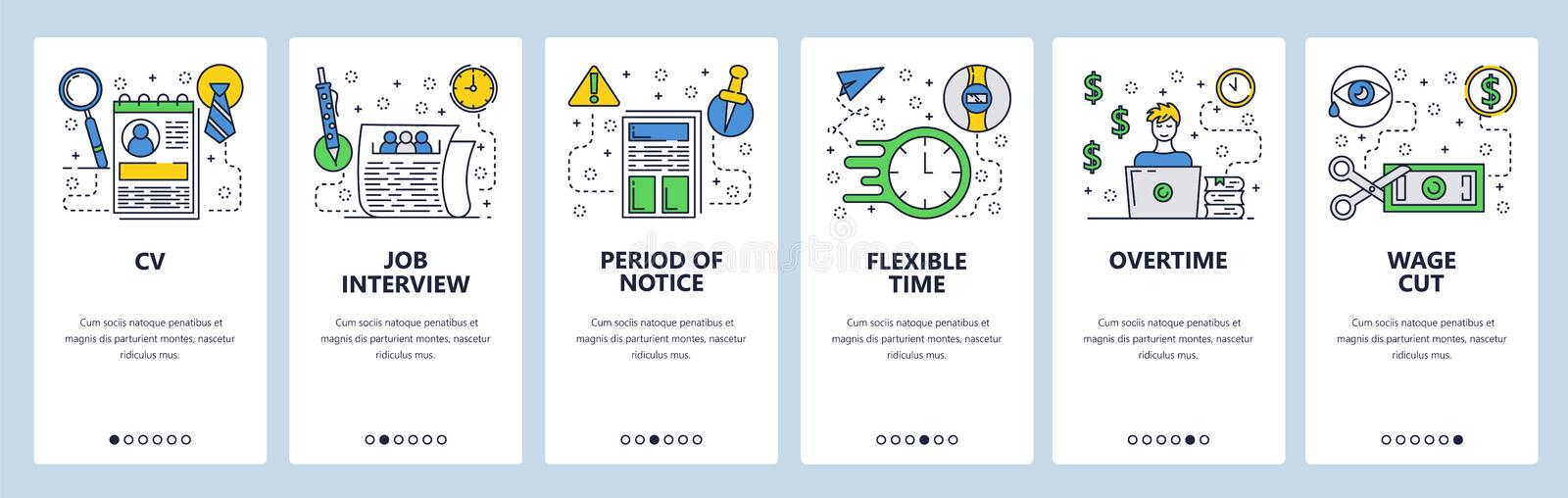 Web site onboarding screens. Job interview and CV. Working hours and overtime salary. Menu vector banner template for. Website and mobile app development stock illustration