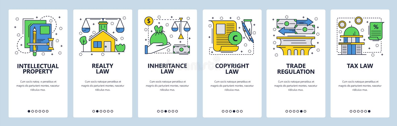 Web site onboarding screens. Law icons, copyright, intellectual property, trade, taxes and financial law. Menu vector. Banner template for website and mobile stock illustration