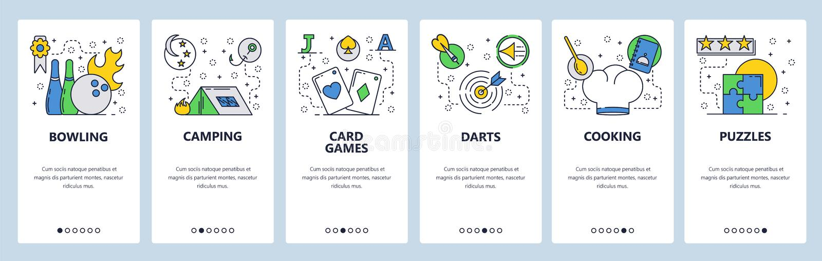 Web site onboarding screens. Leisure time, hobby and sport games icons. Menu vector banner template for website and. Mobile app development. Modern design flat stock illustration