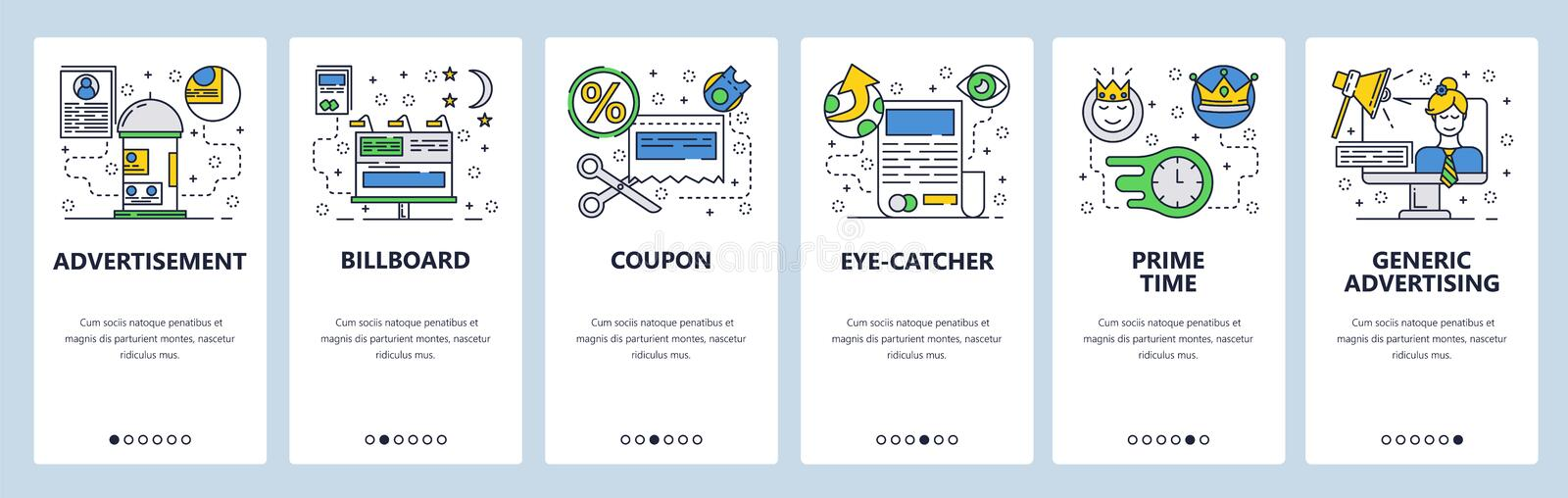 Web site onboarding screens. Marketing and advertising icons. Billboard, TV AD and online promotions. Menu vector banner. Template for website and mobile app royalty free illustration