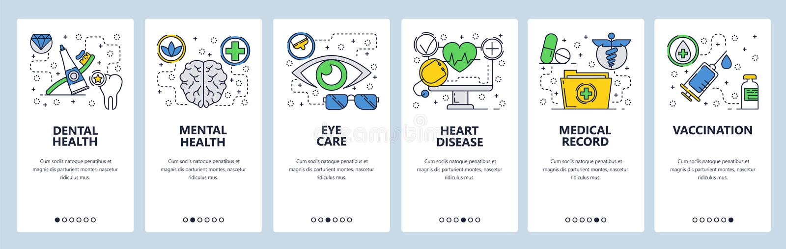 Web site onboarding screens. Medical checkup and body health, vaccination and medical records. Menu vector banner. Template for website and mobile app royalty free illustration