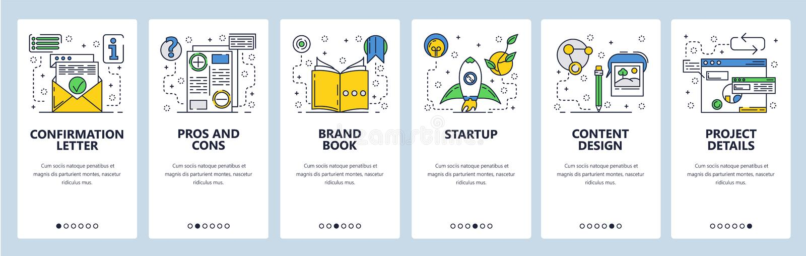 Web site onboarding screens. New project launch, pros and cons. Menu vector banner template for website and mobile app. Development. Modern design flat vector illustration