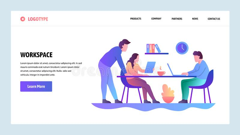Web site onboarding screens. Office meeting and coworking workplace. Menu vector banner template for website and mobile. App development. Modern design linear royalty free illustration