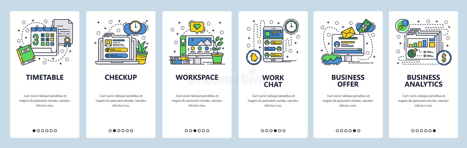 Web site onboarding screens. Office workplace, business analytics, deadline and work chat. Menu vector banner template. For website and mobile app development vector illustration