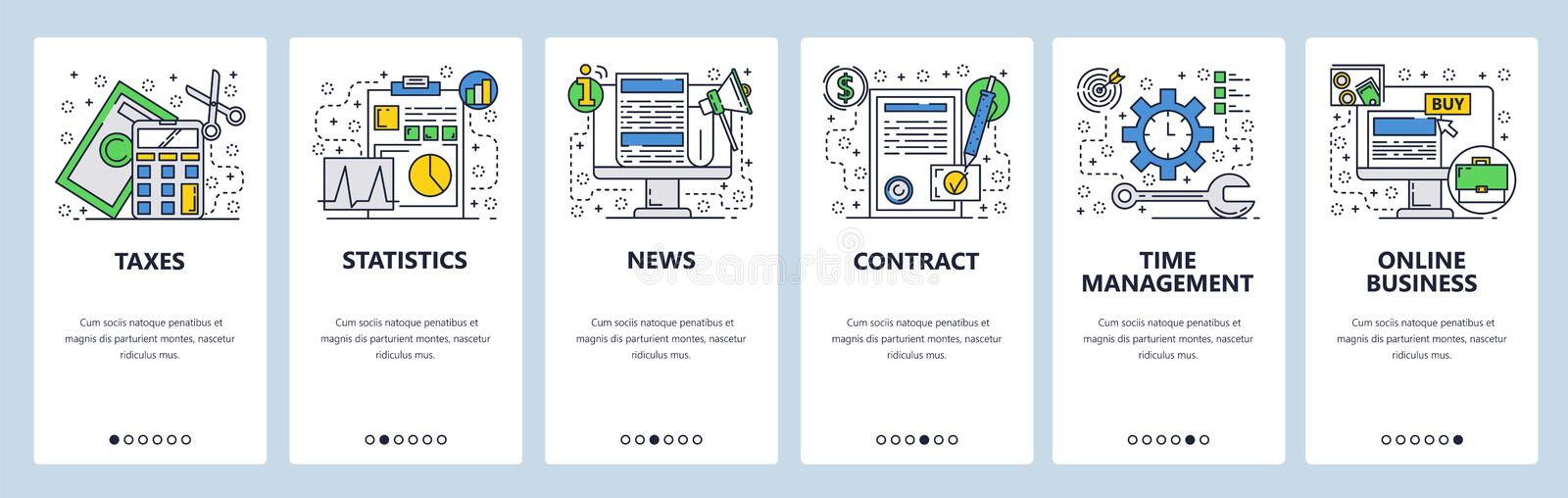 Web site onboarding screens. Online business, taxes, contract and news feed. Menu vector banner template for website and vector illustration
