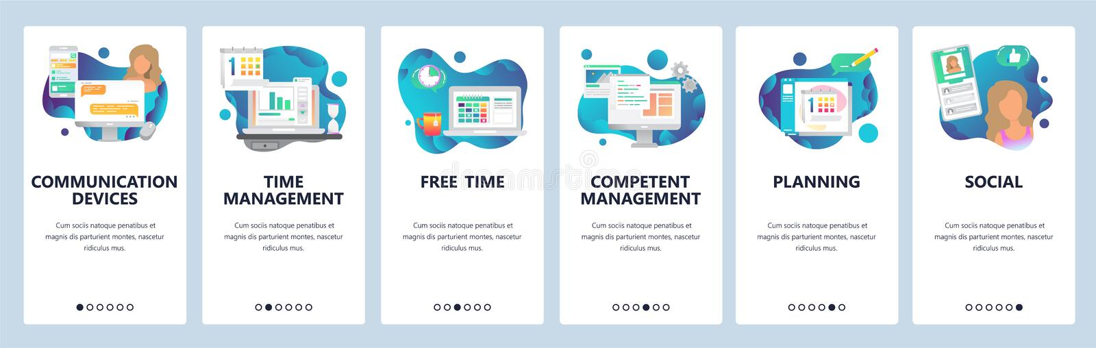 Web site onboarding screens. Online chat, dating, social media and time management. Menu vector banner template for vector illustration