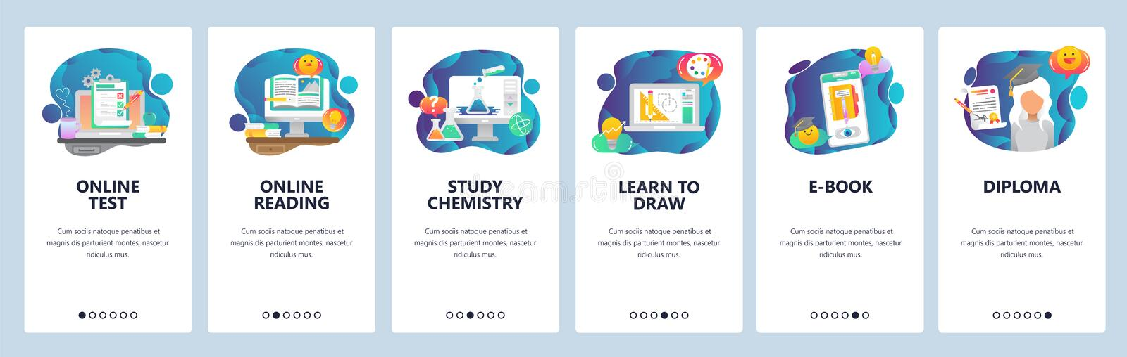 Web site onboarding screens. Online educaion, test, studying and graduation . Menu vector banner template for website. And mobile app development. Modern design stock illustration