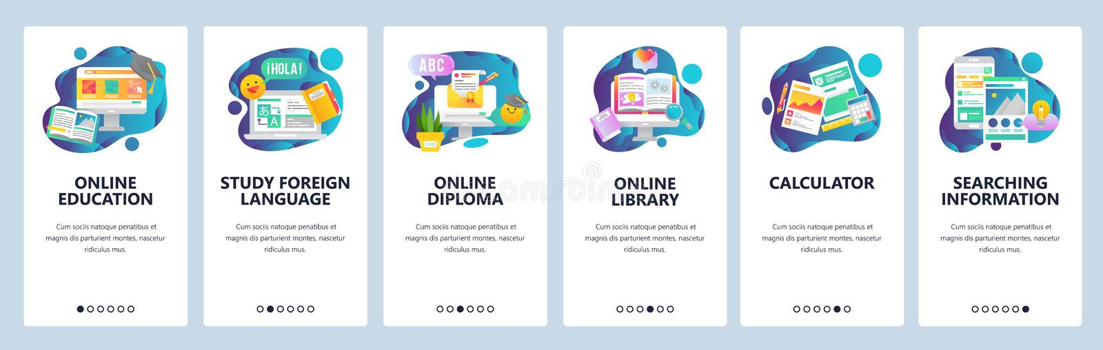 Web site onboarding screens. Online education. Digital internet tutorials and courses. Menu vector banner template for stock illustration