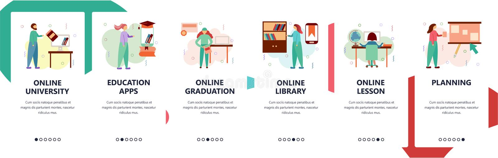 Web site onboarding screens. Online education and digital library. Studying at home. Menu vector banner template for. Website and mobile app development. Modern royalty free illustration