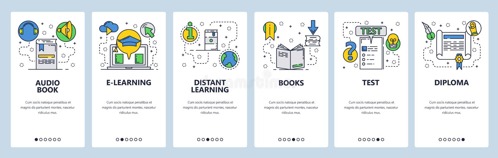 Web site onboarding screens. Online education and e-learning. Books, exams and diploma. Menu vector banner template for royalty free illustration