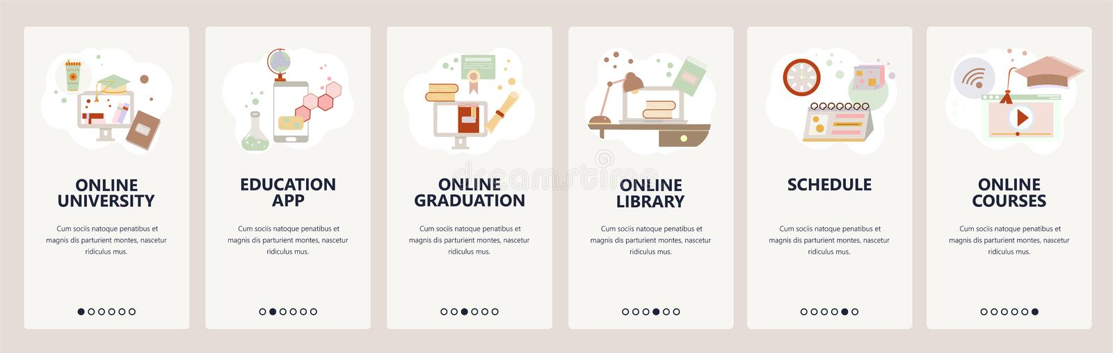 Web site onboarding screens. Online education, e-learning and digital library. Internet courses and tutorials. Menu. Vector banner template for website and vector illustration