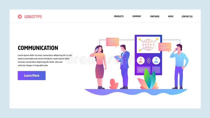 Web site onboarding screens. Online messaging and connection. People digital communication. Menu vector banner template stock illustration