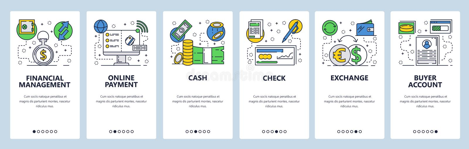 Web site onboarding screens. Online payments, financial management and banking. Menu vector banner template for website. And mobile app development. Modern stock illustration