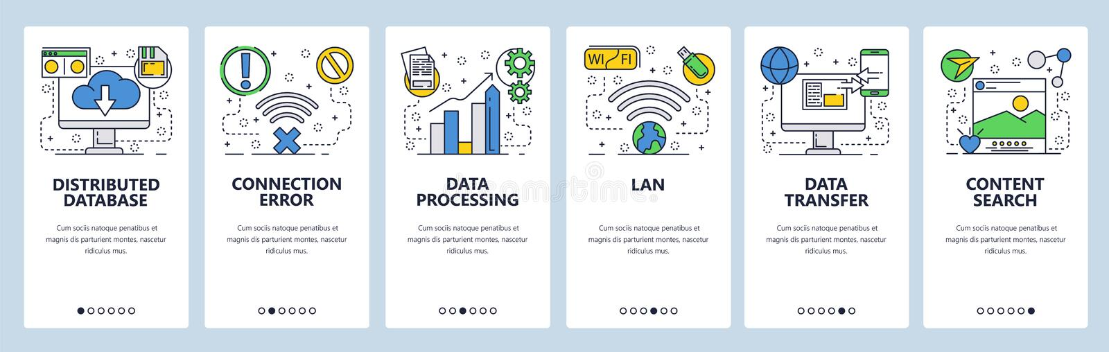 Web site onboarding screens. Online services, distributed database, cloud storage, wireless networks and data transfer. Menu vector banner template for website stock illustration