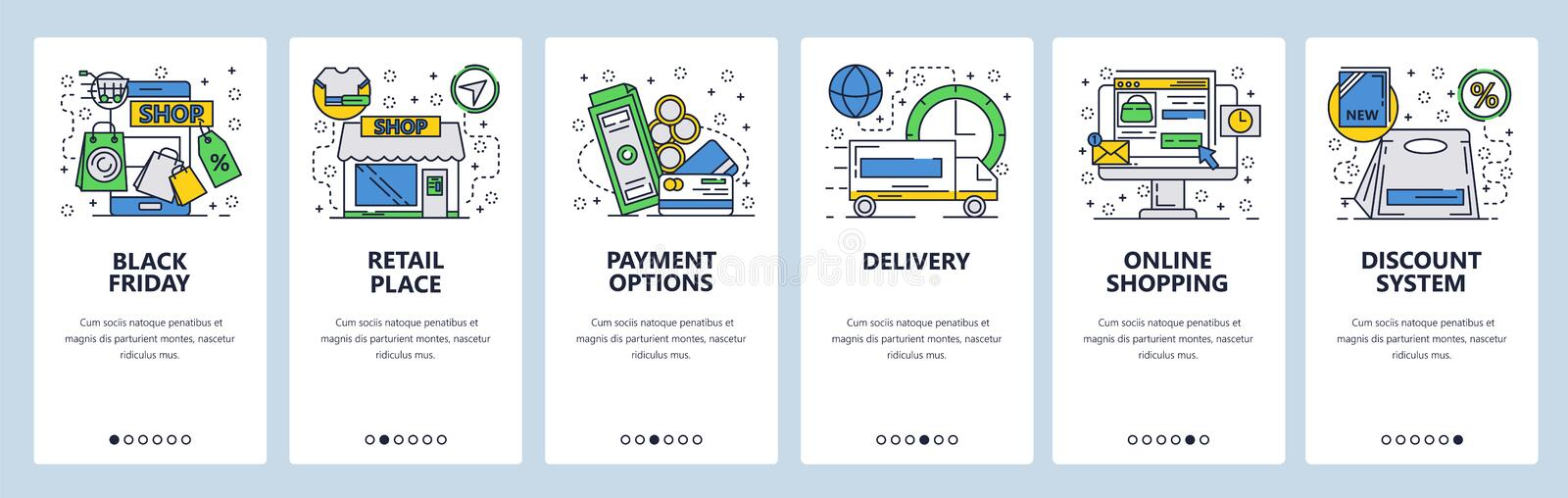 Web site onboarding screens. Online shopping and black friday sales. Menu vector banner template for website and mobile royalty free illustration
