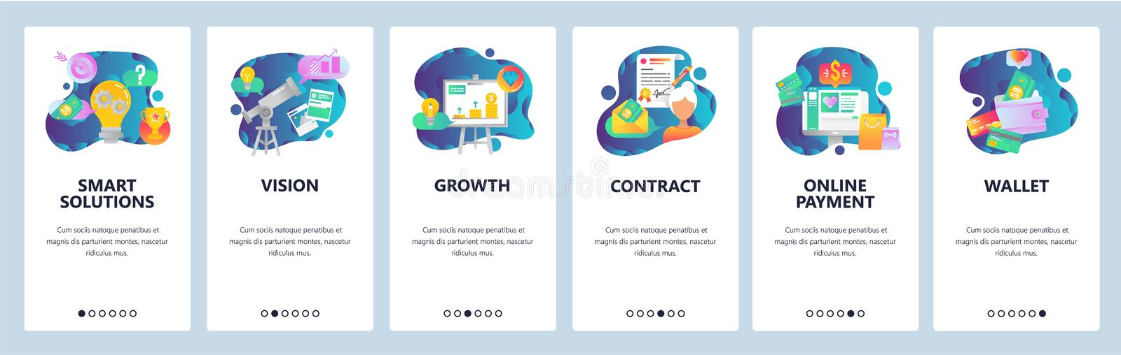 Web site onboarding screens. Online shopping, business chart, money payment and wallet. Menu vector banner template for. Website and mobile app development royalty free illustration