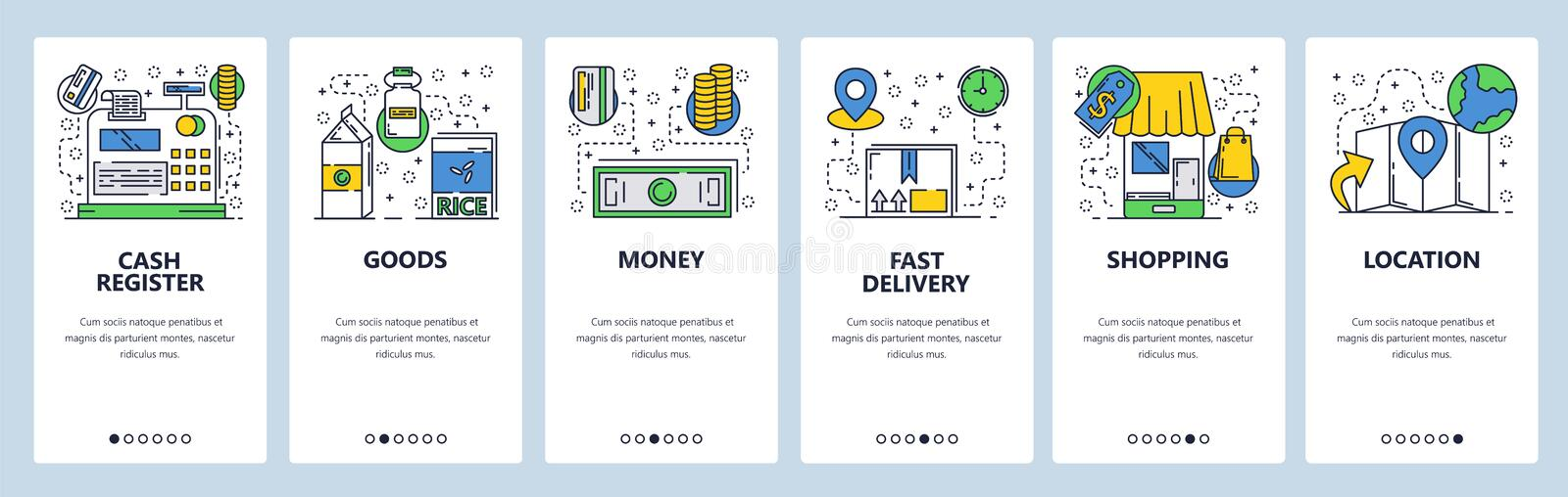 Web site onboarding screens. Online shopping and money payment. Menu vector banner template for website and mobile app. Development. Modern design linear art stock illustration