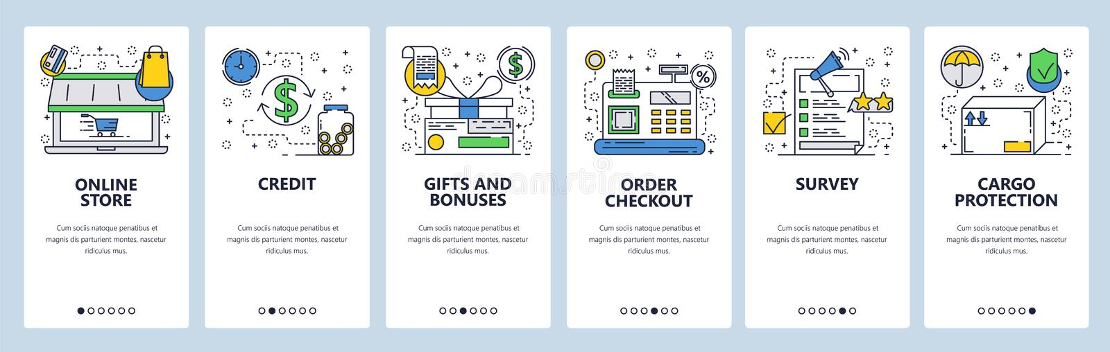 Web site onboarding screens. Online store, cash terminal, review and package delivery icons. Menu vector banner template stock illustration