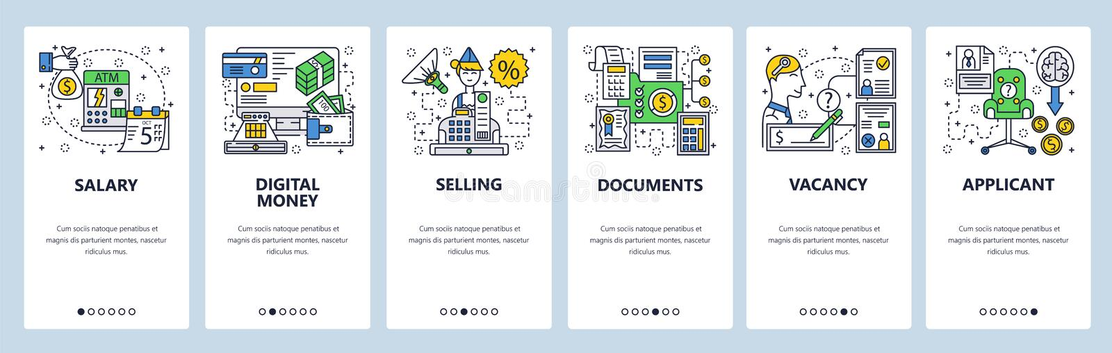 Web site onboarding screens. Pay day, online digital money, check book, job offer. Menu vector banner template for vector illustration